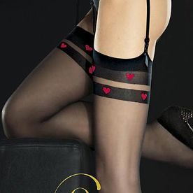 Black 20 Den Stockings with Red Hearts Top, Fiore Eternal